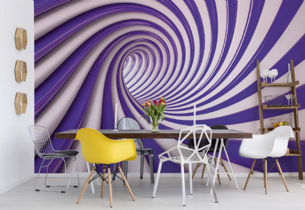 Wall mural wallpaper Abstract Swirl Purple & White